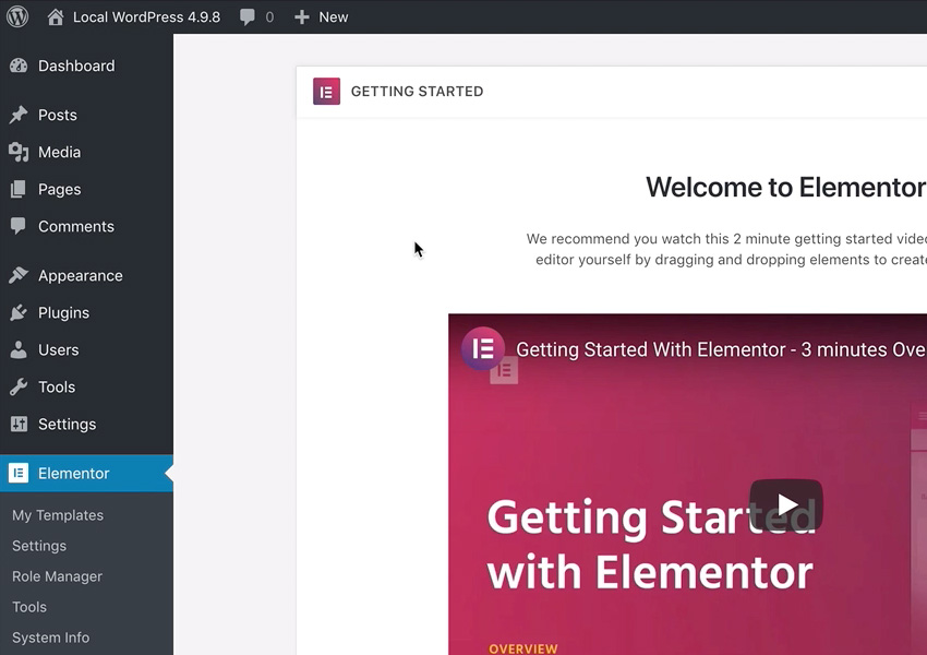 menu elementor di dashboard wordpress